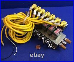 BLOCK of NUMATICS 031SA425E SOLENOID VALVE ASSEMBLY, 7-UNITS With 236-115B PLUG-IN