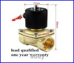 DC12V G 1-1/2 BSPP 2W-400-40 Brass Electric Solenoid Valve Water Oil Gas N/C